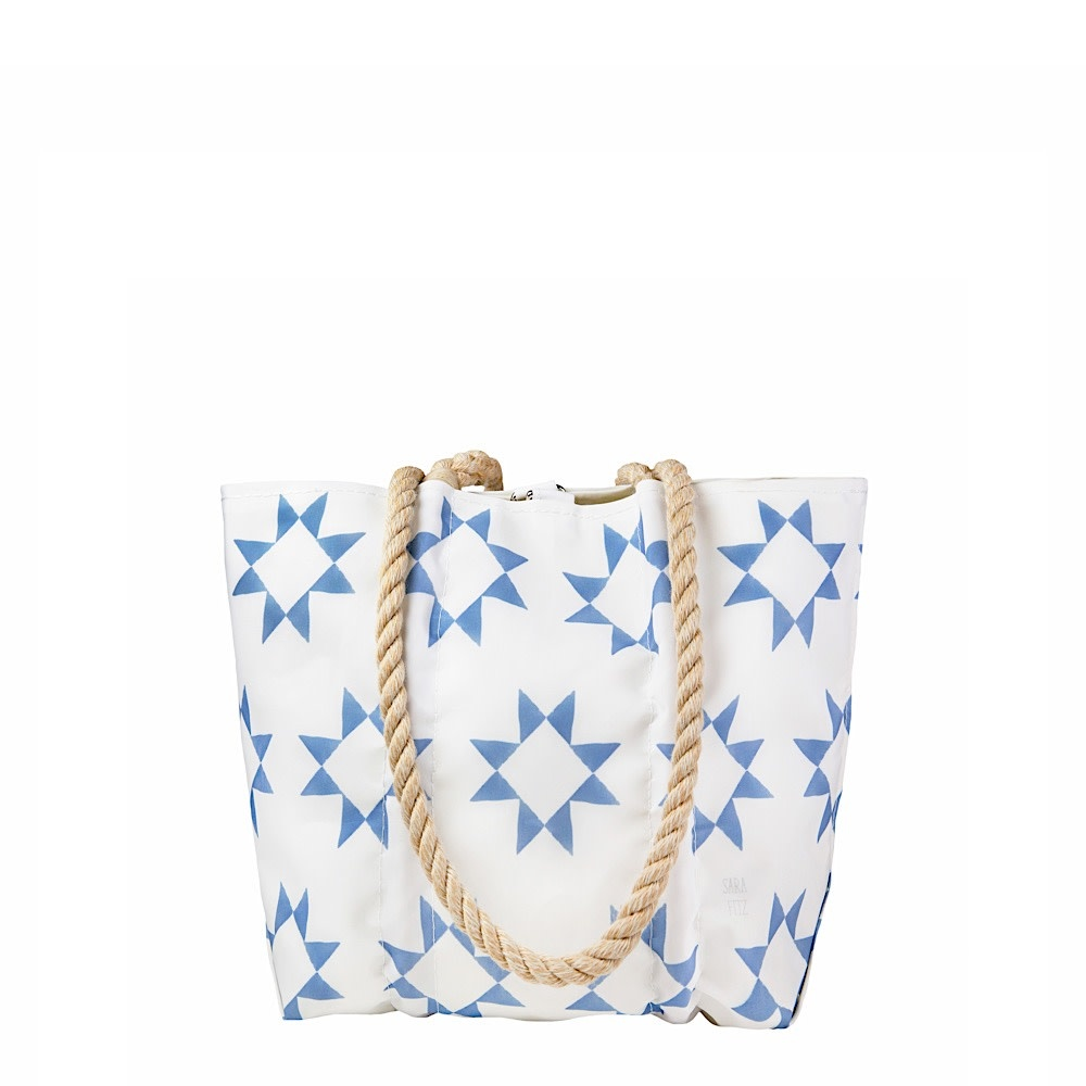 Sea Bags Sea Bags Sara Fitz - Blue Quilt - Small Handbag Tote - Hemp Handle with Clasp