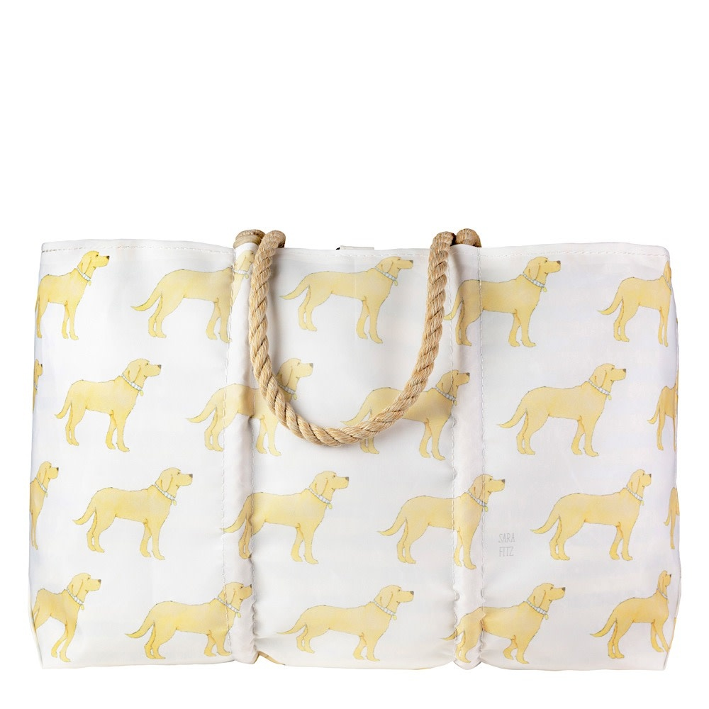 Sea Bags Sara Fitz - Golden Pup - Large Tote - Hemp Handle with Clasp