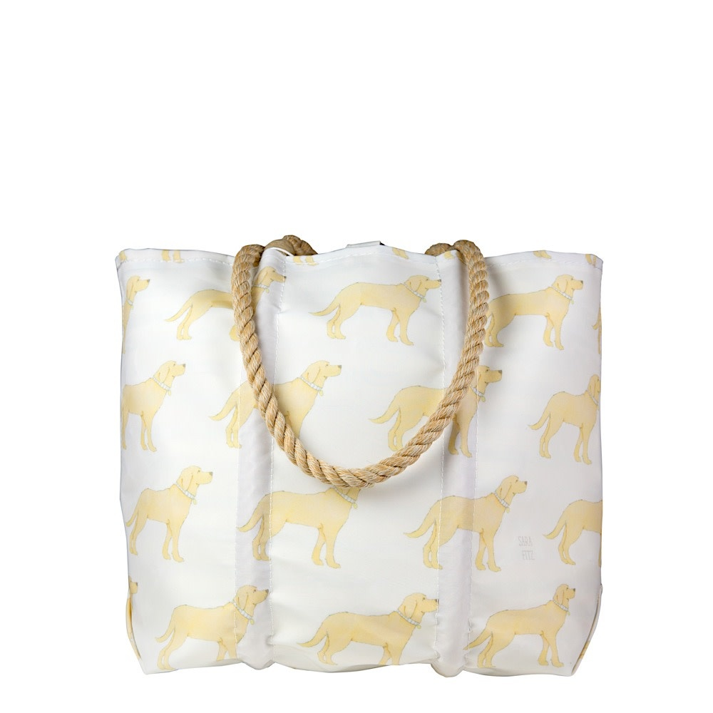 Sea Bags Sea Bags Sara Fitz - Golden Pup - Medium Tote - Hemp Handle with Clasp
