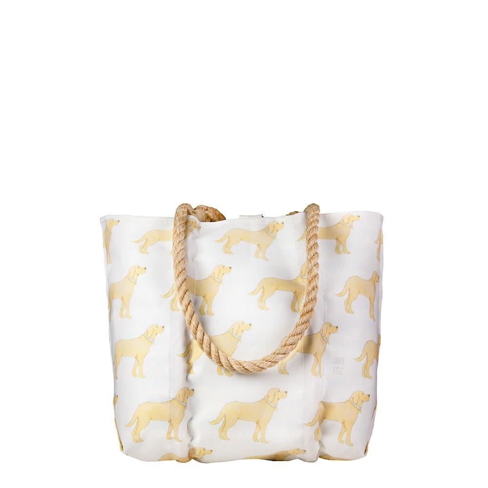 Sea Bags Sara Fitz - Golden Pup - Small Handbag Tote - Hemp Handle with Clasp