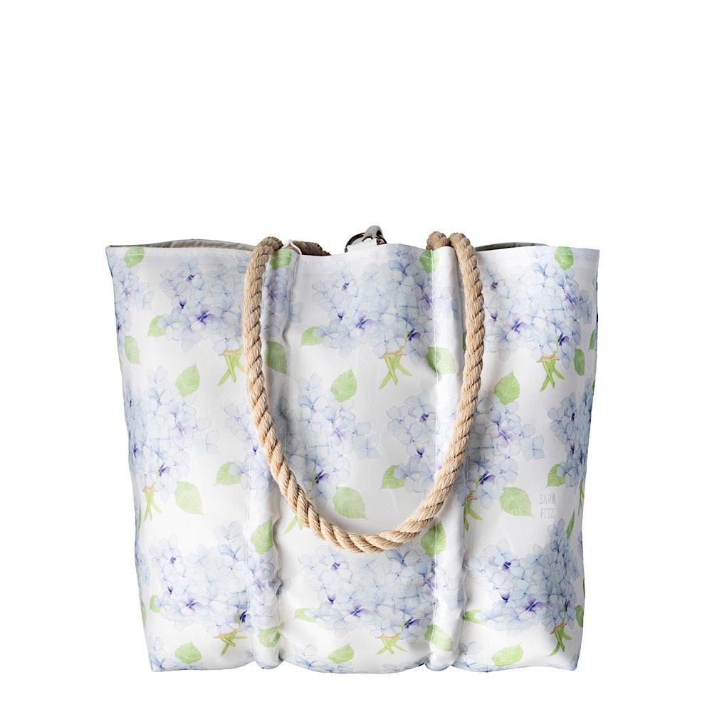 Sea Bags Sara Fitz - Hydrangea - Medium Tote - Hemp Handle with Clasp