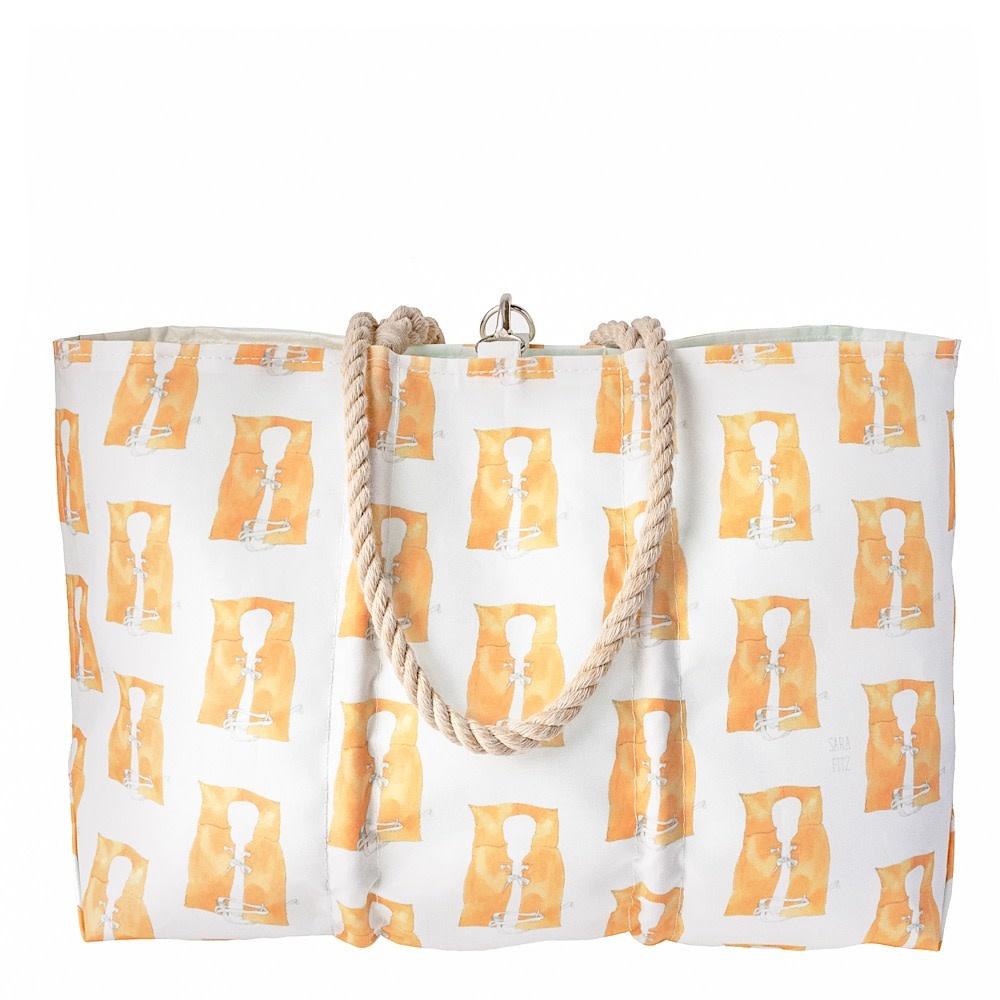 Sea Bags Sea Bags Sara Fitz - Life Jacket - Large Tote - Hemp Handle with Clasp