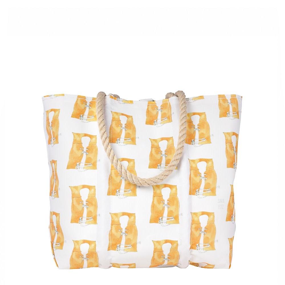 Sea Bags Sea Bags Sara Fitz - Life Jacket - Medium Tote - Hemp Handle with Clasp