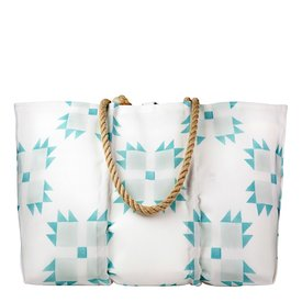 Sea Bags Sea Bags Sara Fitz - Mint Quilt - Large Tote - Hemp Handle with Clasp