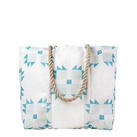 Sea Bags Sea Bags Sara Fitz - Mint Quilt - Medium Tote - Hemp Handle with Clasp