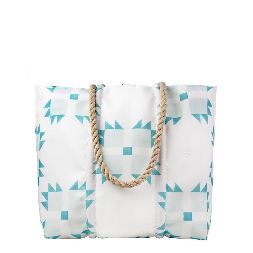 Sea Bags Sea Bags Sara Fitz - Mint Quilt - Medium Tote - Hemp Handle with Clasp