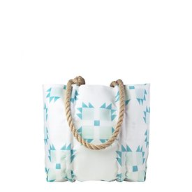 Sea Bags Sea Bags Sara Fitz - Mint Quilt - Small Handbag Tote - Hemp Handle with Clasp
