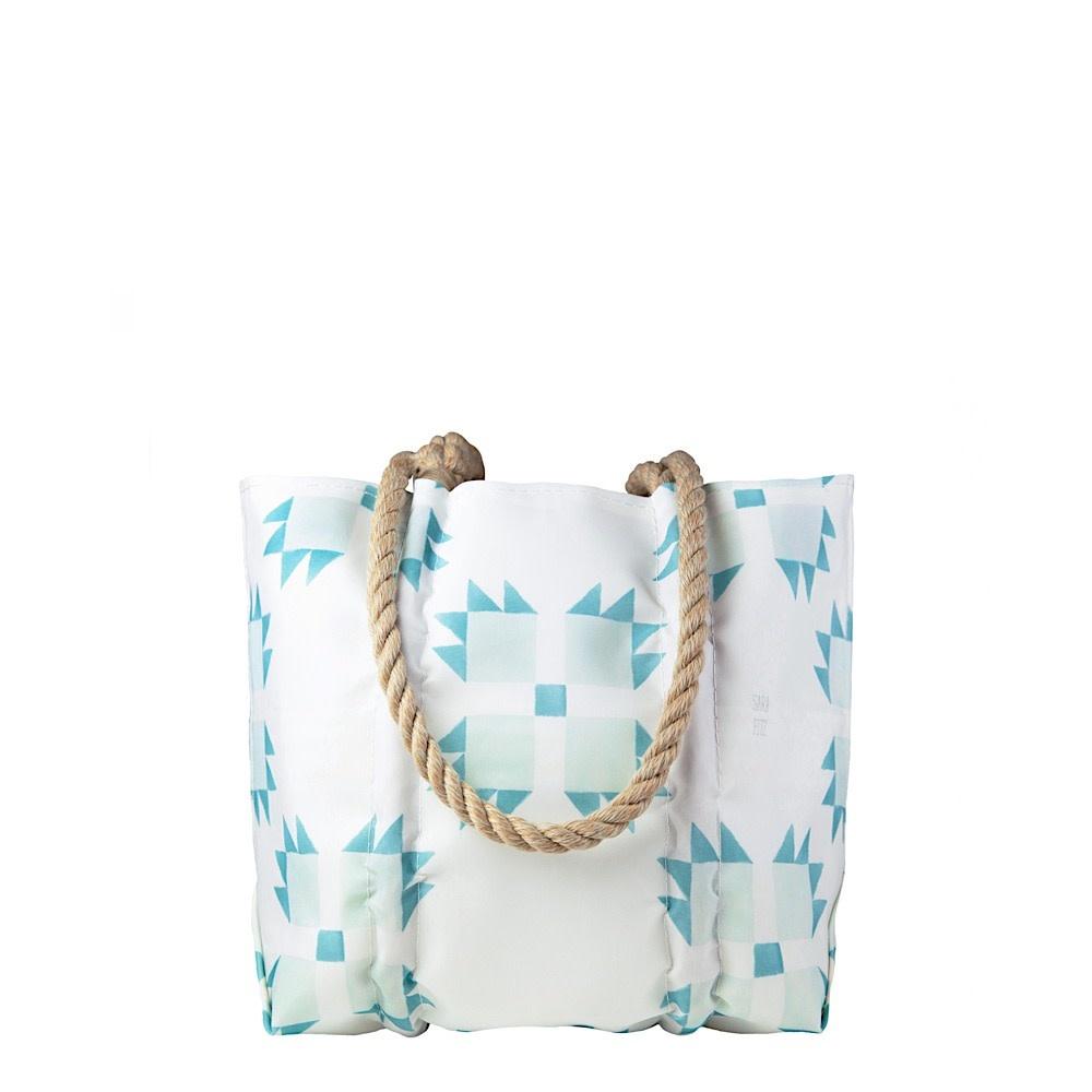 Sea Bags Sea Bags Sara Fitz - Mint Quilt - Small Handbag Tote - Hemp Handle with Clasp