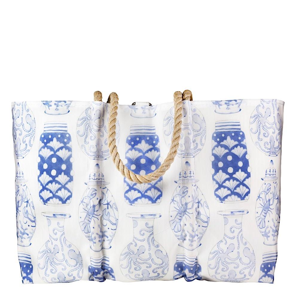 Sea Bags Sea Bags Sara Fitz - Nautical Ginger Jar - Large Tote - Hemp Handle with Clasp