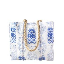 Sea Bags Sea Bags Sara Fitz - Nautical Ginger Jar - Medium Tote - Hemp Handle with Clasp