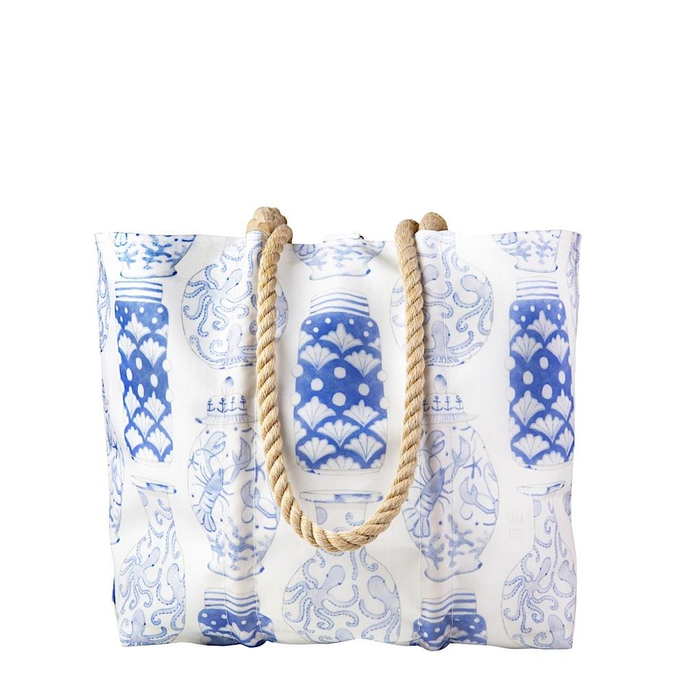 Sea Bags Sara Fitz - Nautical Ginger Jar - Medium Tote - Hemp Handle with Clasp