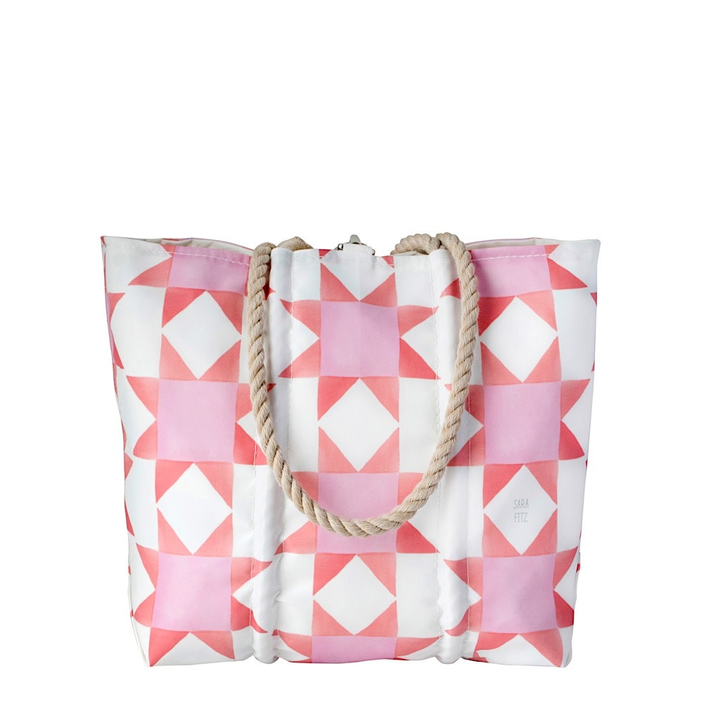 Sea Bags Sara Fitz - Red Pink Quilt - Medium Tote - Hemp Handle with Clasp