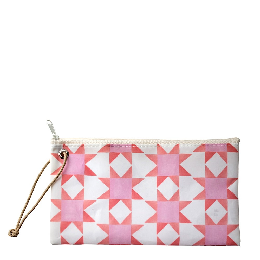 Sea Bags Sea Bags Sara Fitz - Red Pink Quilt - Wristlet