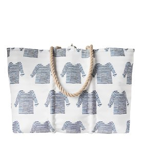 Sea Bags Sea Bags Sara Fitz - Striped Shirt - Large Tote - Hemp Handle with Clasp