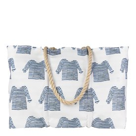 Sea Bags Sea Bags Sara Fitz - Striped Shirt - Large Tote - Hemp Handle with Zip Top