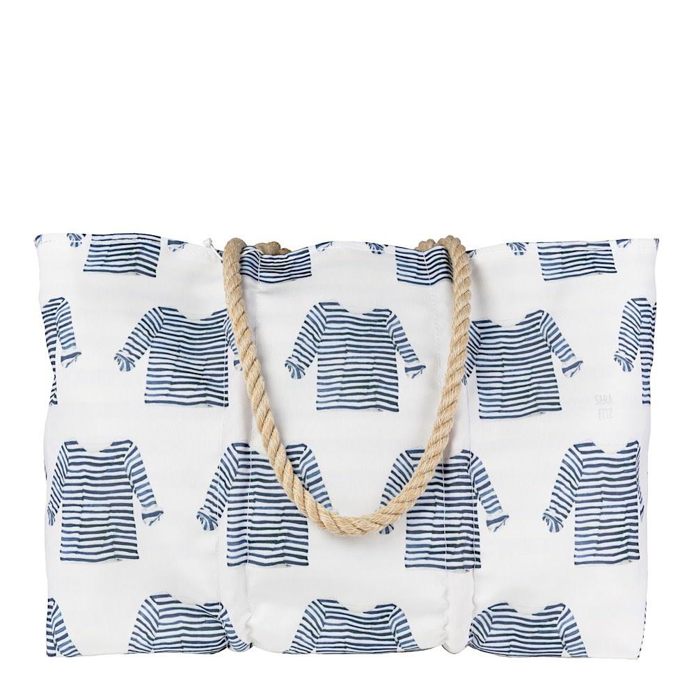 Sea Bags Sea Bags Sara Fitz - Striped Shirt - Large Tote - Hemp Handle with Zip Top