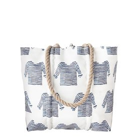 Sea Bags Sea Bags Sara Fitz - Striped Shirt - Medium Tote - Hemp Handle with Clasp