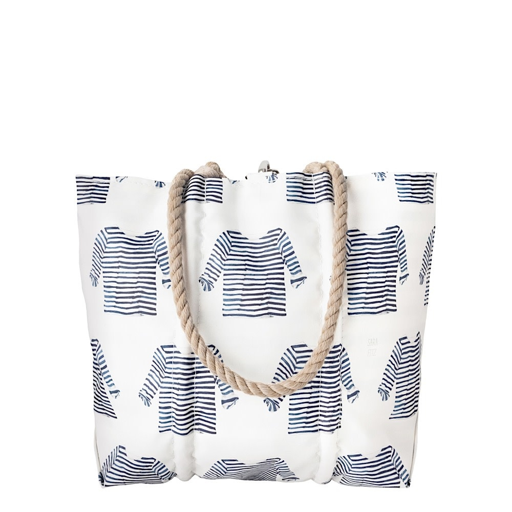 Sea Bags Sara Fitz - Striped Shirt - Medium Tote - Hemp Handle with Clasp