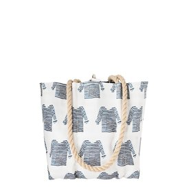 Sea Bags Sea Bags Sara Fitz - Striped Shirt - Small Handbag Tote - Hemp Handle with Clasp