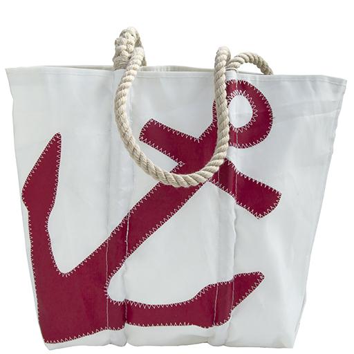 Sea Bags Red Anchor Tote - Hemp Handle - Medium