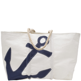 Sea Bags Sea Bags Navy Anchor Tote - Hemp Handle - Large w/ Zip Top