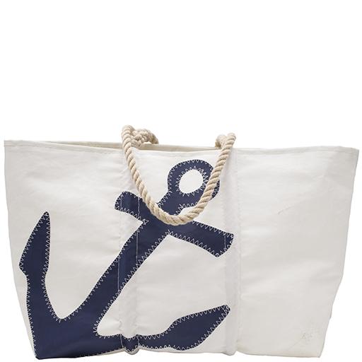 Sea Bags Navy Anchor Tote - Hemp Handle - Large w/ Zip Top