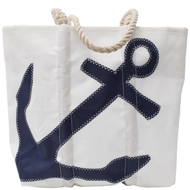 Sea Bags Sea Bags Navy Anchor Tote - Hemp Handle - Medium w/Zip Top