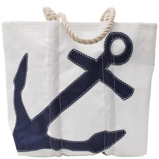 Sea Bags Navy Anchor Tote - Hemp Handle - Medium w/Zip Top