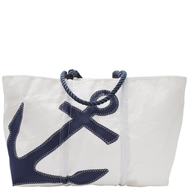 Sea Bags Sea Bags Navy Anchor Tote - Navy Handle - Large w/ Zip Top