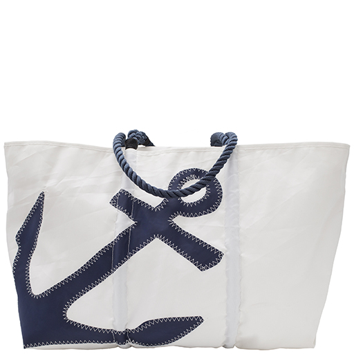 Sea Bags Navy Anchor Tote - Navy Handle - Large w/ Zip Top