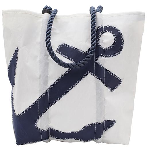 Sea Bags Navy Anchor Tote - Navy Handle - Medium w/Zip Top