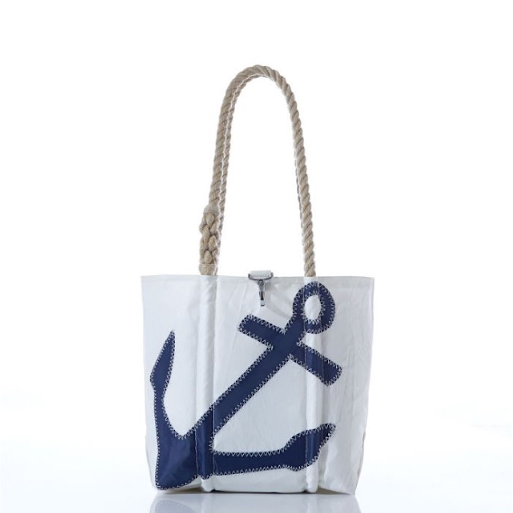 Sea Bags Navy Anchor Tote - Hemp Handle Handbag - Small