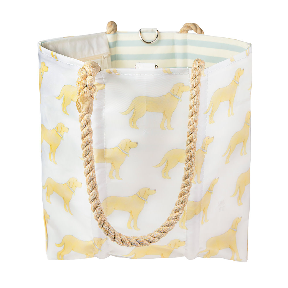 Sea Bags Sara Fitz - Golden Pup - Medium Tote - Hemp Handle with Clasp