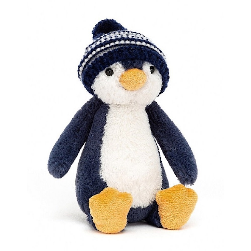 Jellycat Bashful Penguin Bobble Hat - Navy - 7 Inches