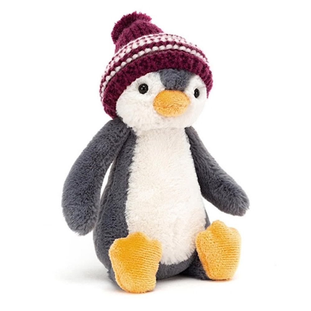 Jellycat Bashful Penguin Bobble Hat - Red - 7 Inches