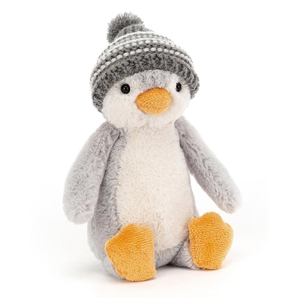 Jellycat Bashful Penguin Bobble Hat - Grey - 7 Inches