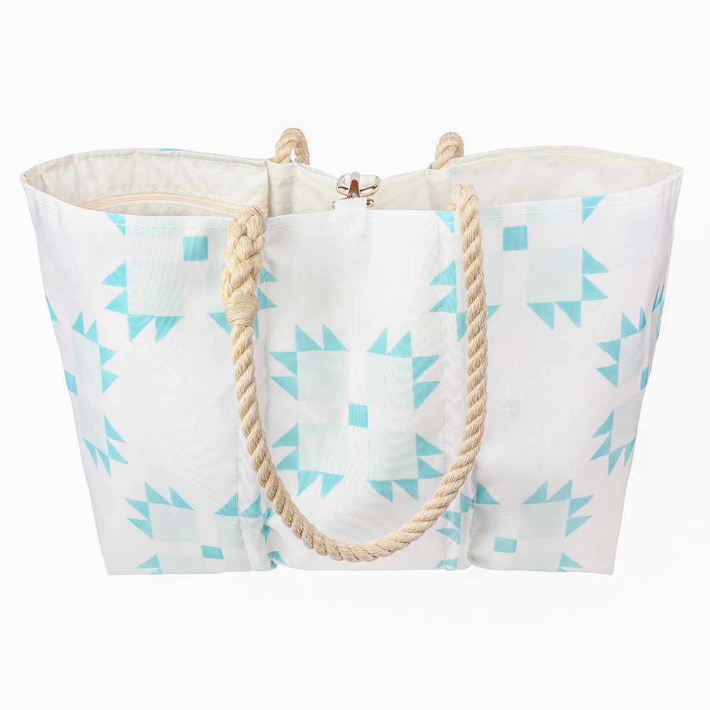 Sea Bags Sara Fitz - Mint Quilt - Large Tote - Hemp Handle with Clasp