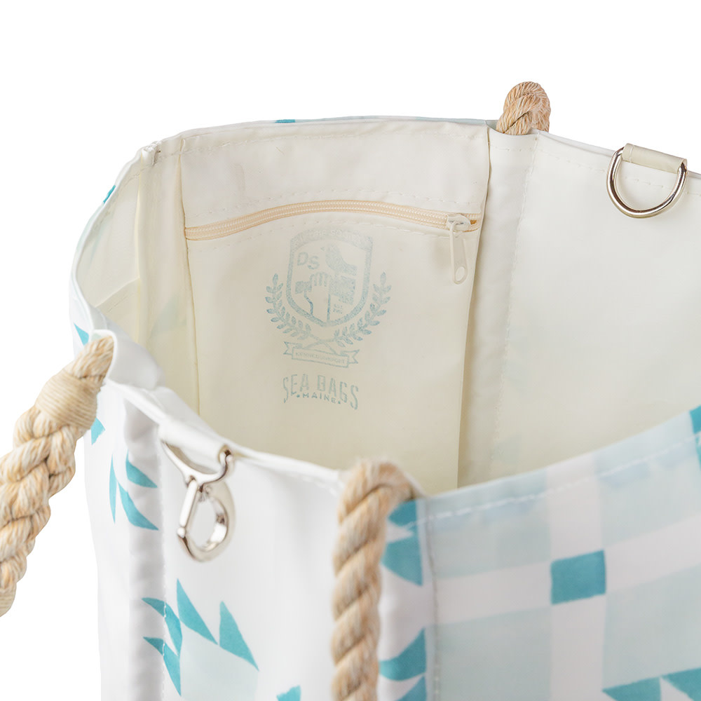 Sea Bags Sara Fitz - Mint Quilt - Medium Tote - Hemp Handle with Clasp