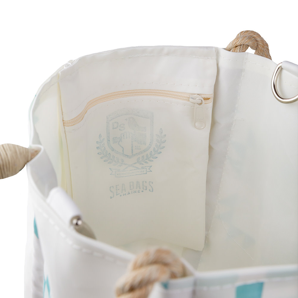 Sea Bags Sara Fitz - Mint Quilt - Small Handbag Tote - Hemp Handle with Clasp