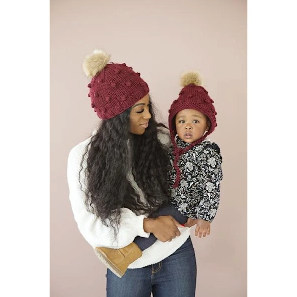 The Blueberry Hill Adult Coco Knit Hat - Pomegranate - L