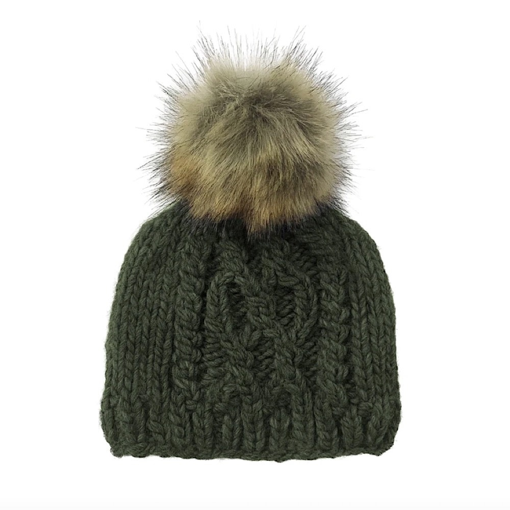 The Blueberry Hill Cable Knit Fur Pom Hat - Green