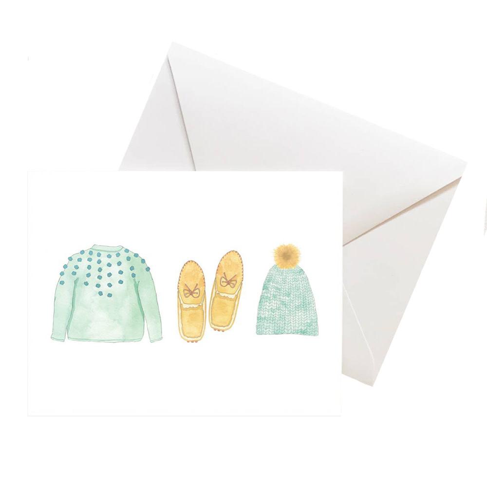 Sara Fitz Box of 8 Cards - Mint Bundle Up