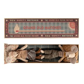 Maileg Maileg Mouse - Grandpa & Grandma In Matchbox - Grey Bottoms