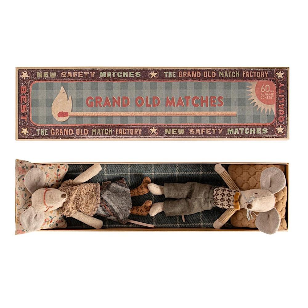 Maileg Mouse - Grandpa & Grandma In Matchbox - Grey Bottoms