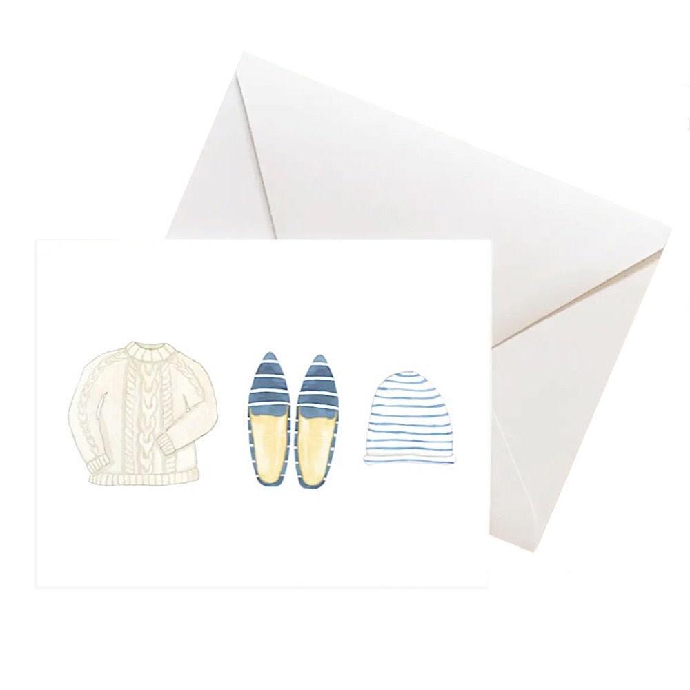 Sara Fitz Box of 8 Cards - Blue Bundle Up