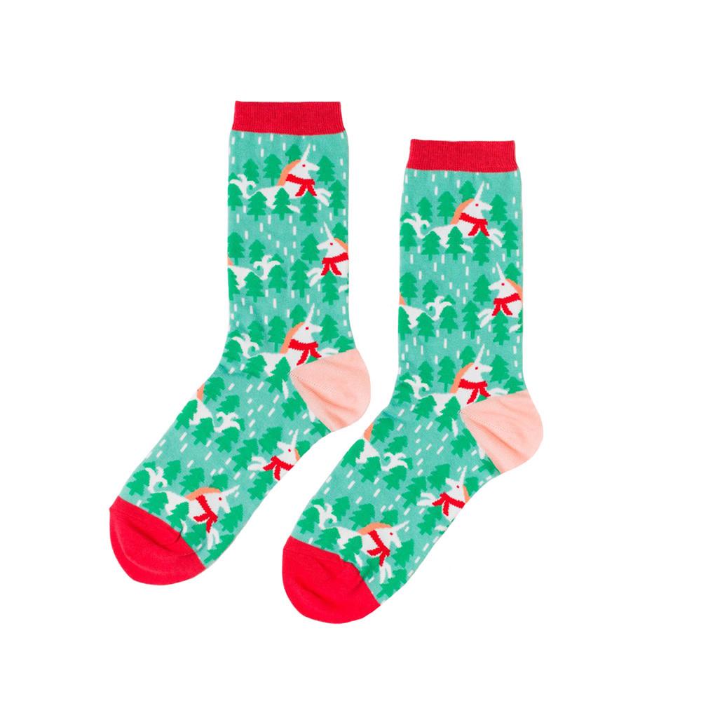 Yellow Owl Workshop Socks - Holiday Unicorn