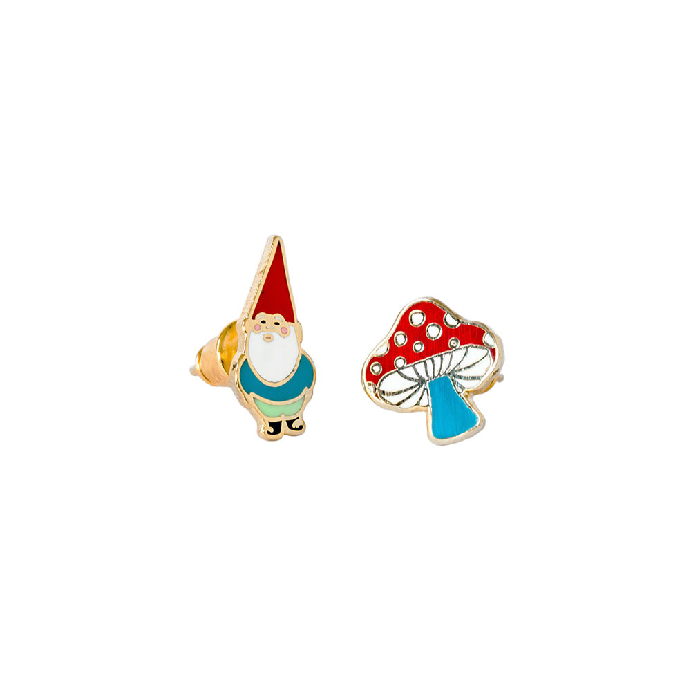 Yellow Owl Workshop Earrings - Gnome & Mushroom