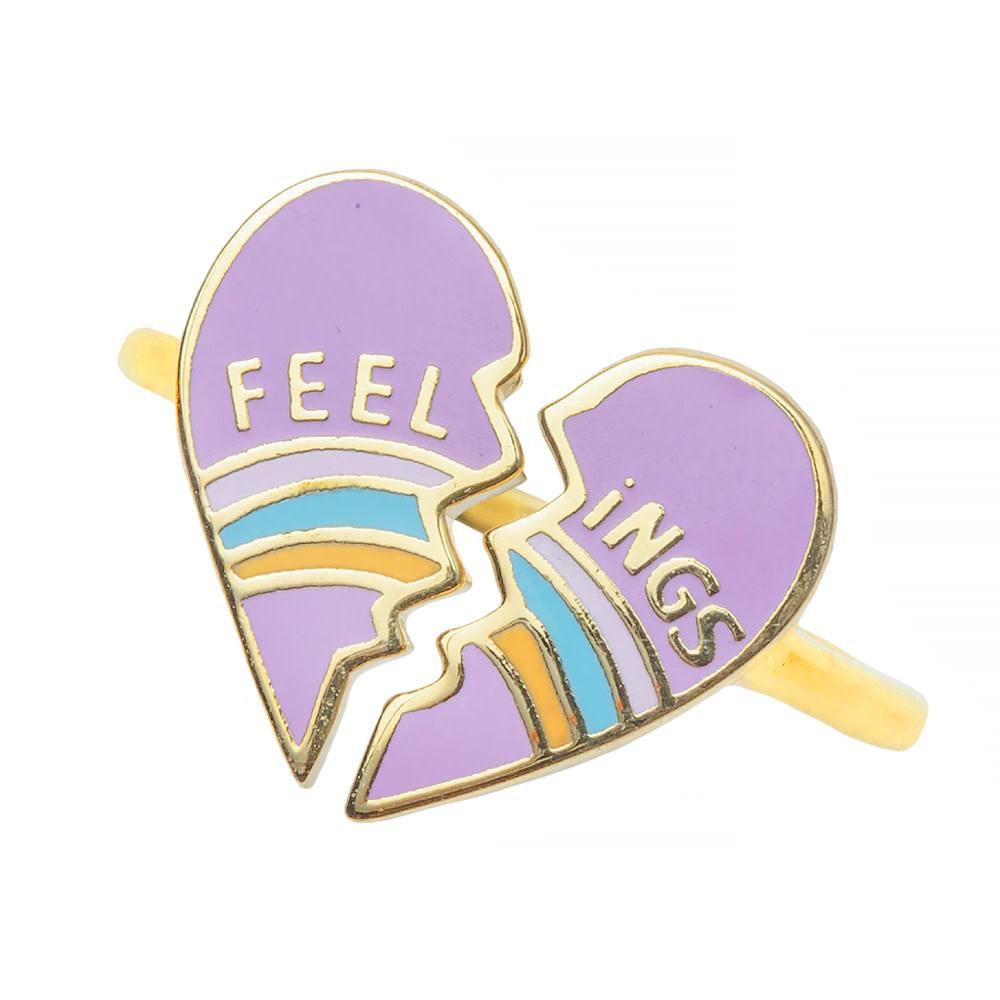 Yellow Owl Workshop Adjustable Ring - Heartbroken Feelings