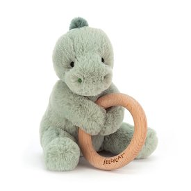 Jellycat Jellycat Wooden Ring Rattle - Puffles Dino