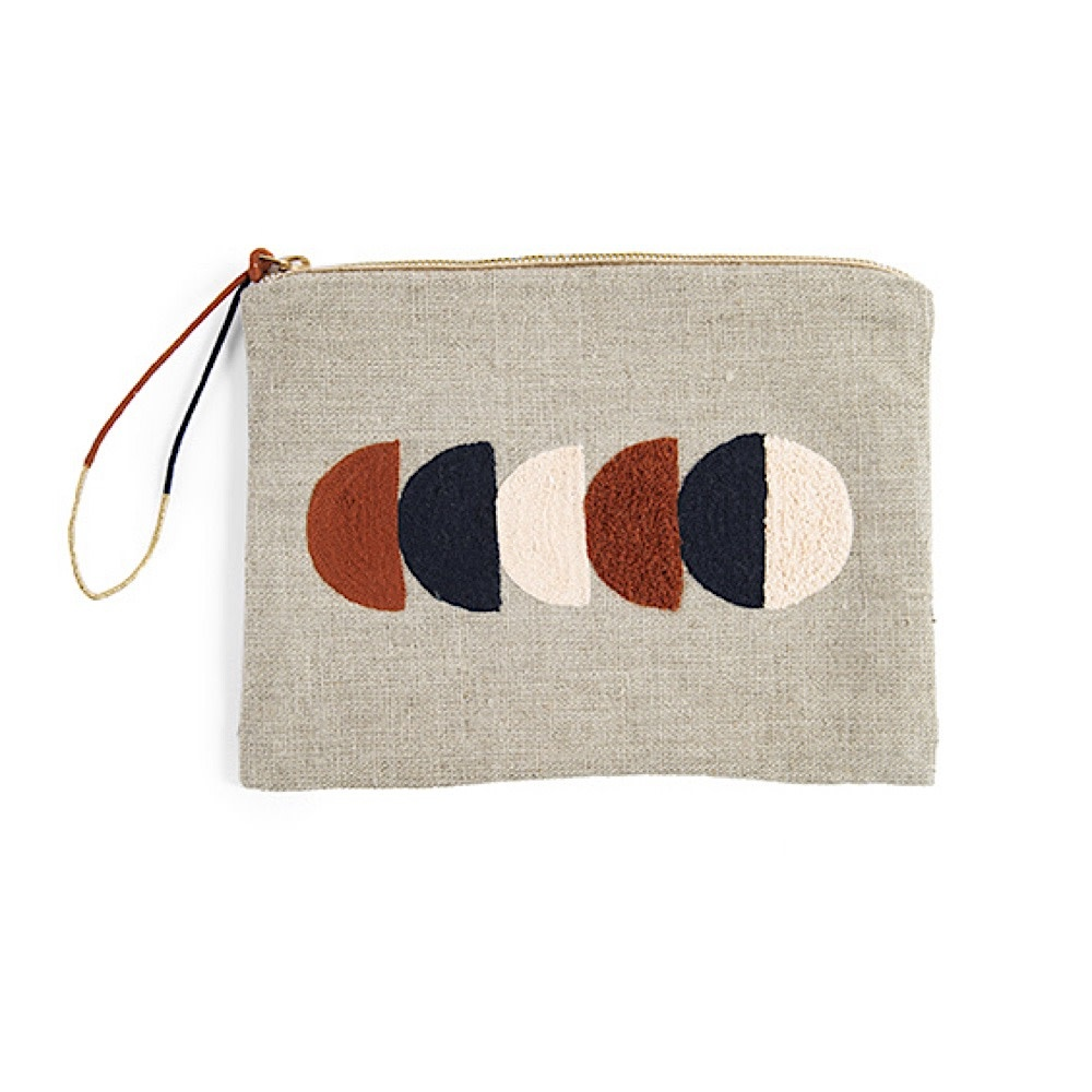 Printfresh Studio Circle Embroidered Large Linen Pouch